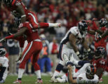 [JOE0572]  The Denver Broncos Jay Cutler (6) lays on his back after he was sacked by Houston...