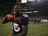 [ JPM894 ] Denver Broncos Brandon Marshall smiles as he leaves the field after Denver beat the...