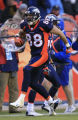 DM0970   Denver Broncos tight end Tony Scheffler celebrates after picking up a first down in the...