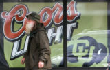 0383  A Coors Light advertisement with a University of Colorado logo on it is displayed in the...