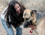 Laura Hagan (cq) visits Rolo, her German Shepherd, at the Table Mountain Animal Center in Golden...