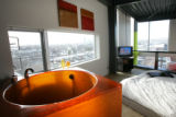 Kyle and Andra Zeppelin's penthouse unit in the Taxi II building.   Dec. 19, 2007.  A handmade,...