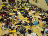 Stranded travelers at the Silverthorne Rec Center.      photo by JESSE GREEN, special to the Rocky...