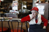 87 year-old Fay Shepperd (cq) sits on one of the chairs at her restaurant in Kit Carson, Colorado...
