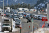 Westbound traffic exits on the Frontage Road off the closure of  I-70 at Floyd Hill closed due to...