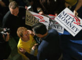 MJM452 Republican Presidential candidate, Mitt Romney interacts with  the crowd during an...