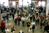 (Denver shot on 4/4/05) Fans flood the gates as the Colorado Rockies play the San Diego Padres...