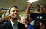 Supporters cheer for Democratic Presidential candidate John Edwards meets at the United...