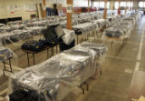 Millions of dollars in electronic voting machines sit in a warehouse located at 3830 York Street...