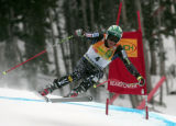 Bode Miller, USA, is in 6th place after skiing the downhill portion of the Men's Super Combined...