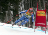 Didier Cuche SUI,  is in 1st place after skiing  the downhill portion of the Men's Super Combined...