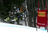 Steve Nyman, USA  is in 2nd place after skiing  the downhill portion of the Men's Super Combined...