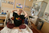 Robi Shaneman, cq, 12 years-old, receives chemotherapy Thursday Nov. 29, 2007 at Children's...