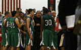 Doherty's coach Dan McKiernan gives some pep talk as the numbers were looking bad in their game...