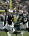 0272 Denver Broncos #88 Tony Schefler is covered well by Oakland Raiders #24 Michael Huff causing...