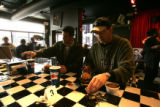 (Denver, Co} shot on 4/5/05})  First timers at Joe's, Tim Trostel (cq) and Corey Guildner (cq)...