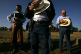 DLM0634  Daniel Brewster, 31, of Greeley, from left, Bill Olmstead, 71, of Cheyenne and L.G....