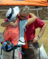 Frank Birgfeld the father of Paige Birgfeld share hugs with a searcher at the command post...