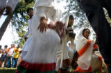(from left) Ethiopian dancers from the Sabaree African Cultural Organization, 22 year-old Henok...