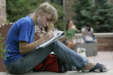 Victoria Breeze (cq) from Centennial, CO works on her schedule before she registers for classes at...