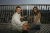 Laura Sobon and her boyfriend Brian Murray, (cq both) on the balcony of her parents in the...