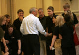 Colorado Governor Bill Ritter greets members and advisors of the Pueblo Teen Council Tuesday, July...