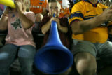 DLM3264  Payton Dooley, 9, of Parker toots his horn for MLS team during the MLS All-Star game at...