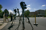 TV cameras sit outside Swedish Medical Center, 501 E. Hampden Ave., in Englewood, Colo., on...