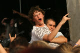 "Fans get carried over by the crowd as they sing along to the music of ""CIRCA SURVIVE"" at..."