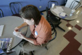 Jeri Crump(cq,) of Morrison, goes through flash cards of airport codes in preparation for a test...