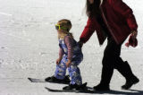 (ARAPAHOE BASIN, Colo., April 7, 2005) Hannah Orce , four years old(cq), gets a push from her...