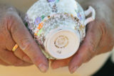 English bone china with a Dresden design.  Doris Morse (Cq) purchased the cup and saucer for $5.00...
