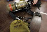 A SCBA (self contained breathing apparatus) Mask  that the City of Denver Fire Department received...