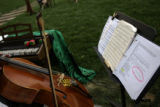 Nancy Ziglar (cq) of Ouray, Colo., plays cello before a non-rehearsed performance of Shakespeare's...