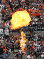 [JOE337]  A jet of flame erupts from a gas gun during the introduction of Denver Broncos players...