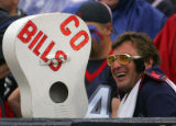 Buffalo fan John Langsits in the stands in the third quarter of the Denver Broncos against the...