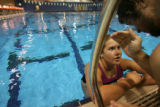 MJM1795   Miranda Mitchell (cq), 15, of the Sublette County Swim Team listens to Travis Hines...