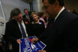 New Mexico Governor Bill Richardson, running for President, signed a poster for James Foy, with...