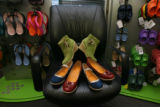 The new YOU by Crocs select line of fashionable shoes at Crocs Headquarters in Niwot, Colo. at...