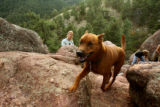 "Ben Walburn (cq) and his dog 6 year-old ""Salsa"", take a hike on the hills of Flagstaff..."