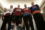 0292 Colorado Avalanche players, from left, Milan Hejduk, John-Michael Liles(wearing new jersey),...