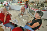 L to R: Frances Haynes (cq), Pete Anselmo (cq), and JoAnn Smith (cq) enjoy conversation after...