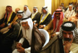 BAG110 - Various unidentified Sunni and Shiite leaders attend a reconciliation meeting in ...