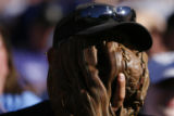 DM1151 Fan Dan Franco hides his face in his glove during a tense ninth inning during Arizona...