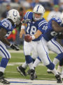 Peyton Manning hands off to Joseph Addai in the first quarter of the Denver Broncos against the...