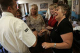 Chef Rocky Durham (cq), left, talks with students Vicki Willing, from Parker, Susan Chambers...