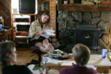 Writer Pam Houston holds a writer's workshop for women in the living room of her ranch house in...