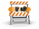 construction barrier, construction sign. 3D.
