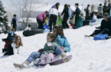 Susan Geschwentner and her duaghter Kellie, 5  (CQ)  from Littleton enjoys a snow day off from...