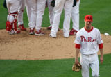 [ES0133]  Philadelphia Phillies' starting pitcher Kyle Kendrick walks off the mound in the fourth...